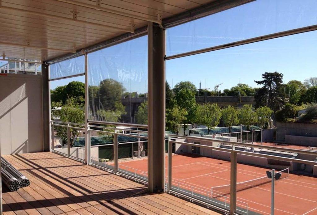 Fermeture de pergola du stade de tennis Roland Garros